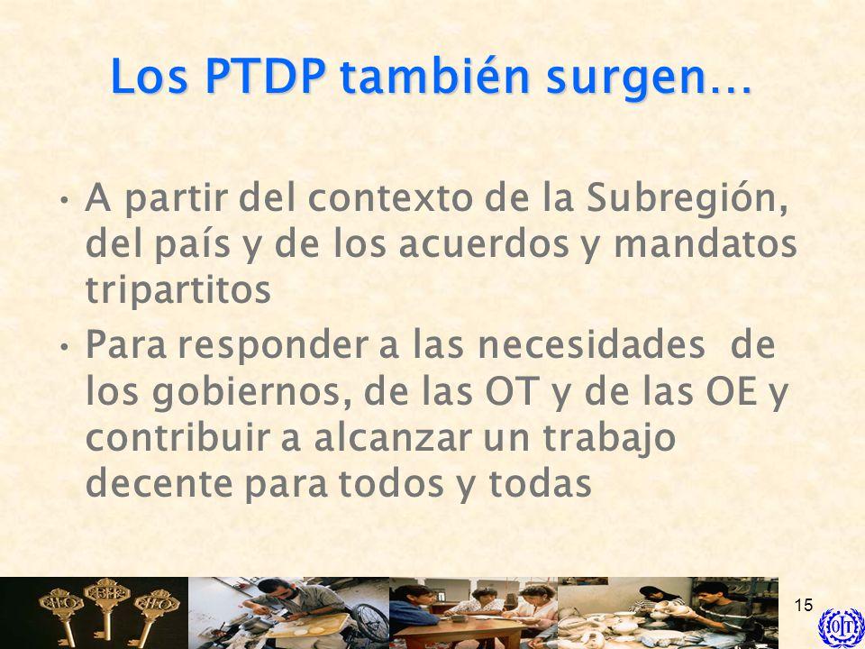 15 Los PTDP también surgen… A partir del contexto de la Subregión, del país y de los acuerdos y mandatos tripartitos Para responder a las necesidades