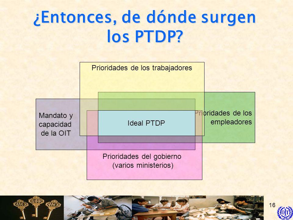 16 Mandato y capacidad de la OIT Prioridades de los empleadores Prioridades del gobierno (varios ministerios) Prioridades de los trabajadores Ideal PT