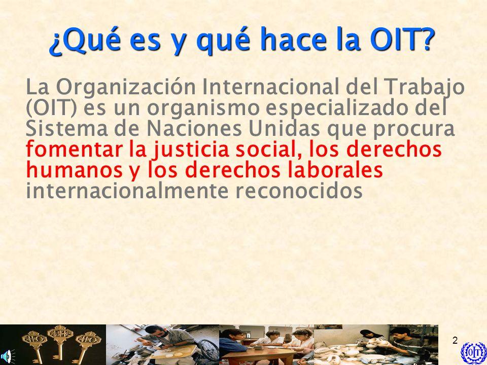 2 ¿Qué es y qué hace la OIT? La Organización Internacional del Trabajo (OIT) es un organismo especializado del Sistema de Naciones Unidas que procura