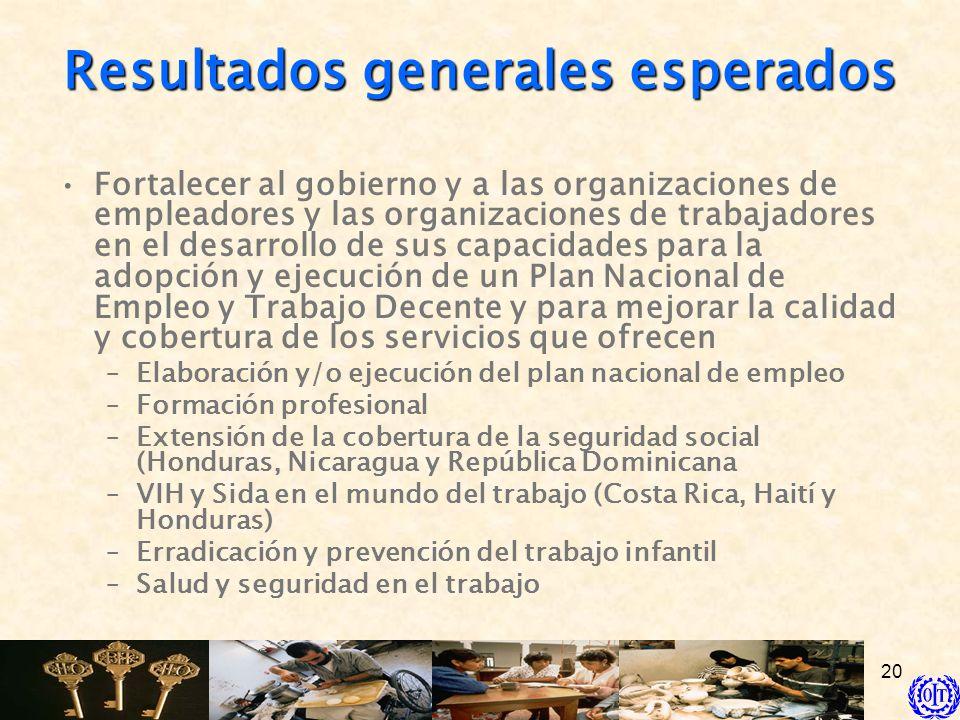 20 Resultados generales esperados Fortalecer al gobierno y a las organizaciones de empleadores y las organizaciones de trabajadores en el desarrollo d