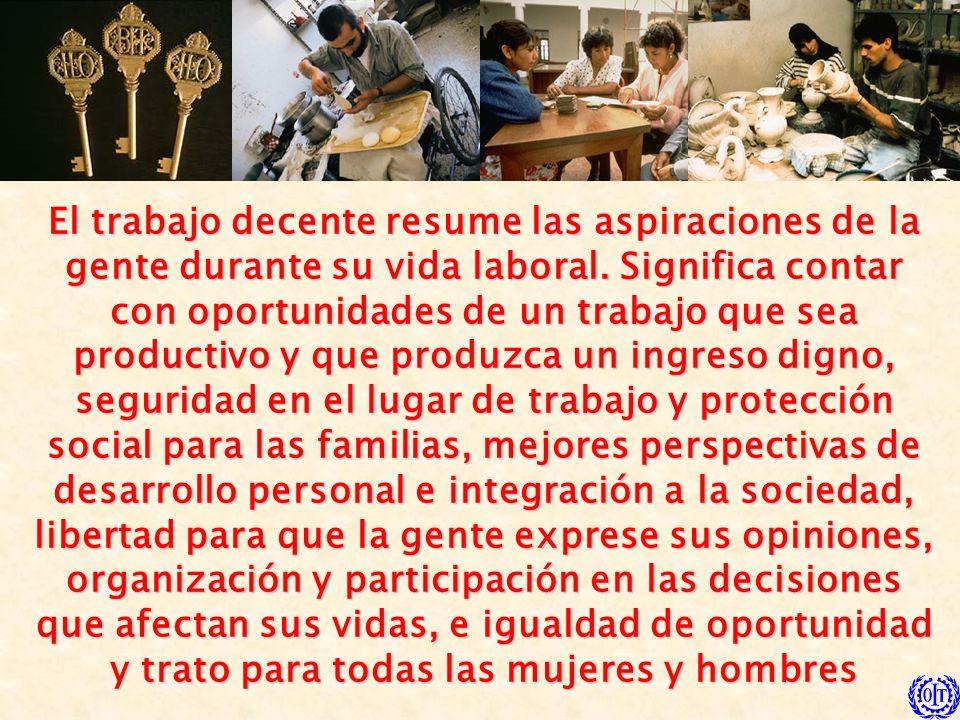 El trabajo decente resume las aspiraciones de la gente durante su vida laboral. Significa contar con oportunidades de un trabajo que sea productivo y