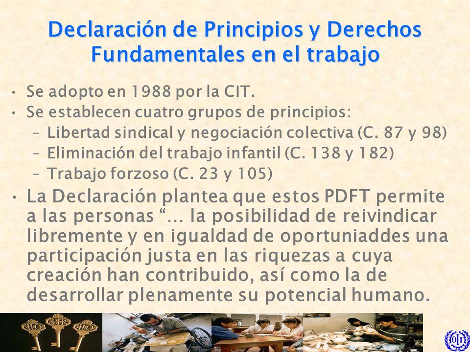 Declaración de Principios y Derechos Fundamentales en el trabajo Se adopto en 1988 por la CIT. Se establecen cuatro grupos de principios: –Libertad si