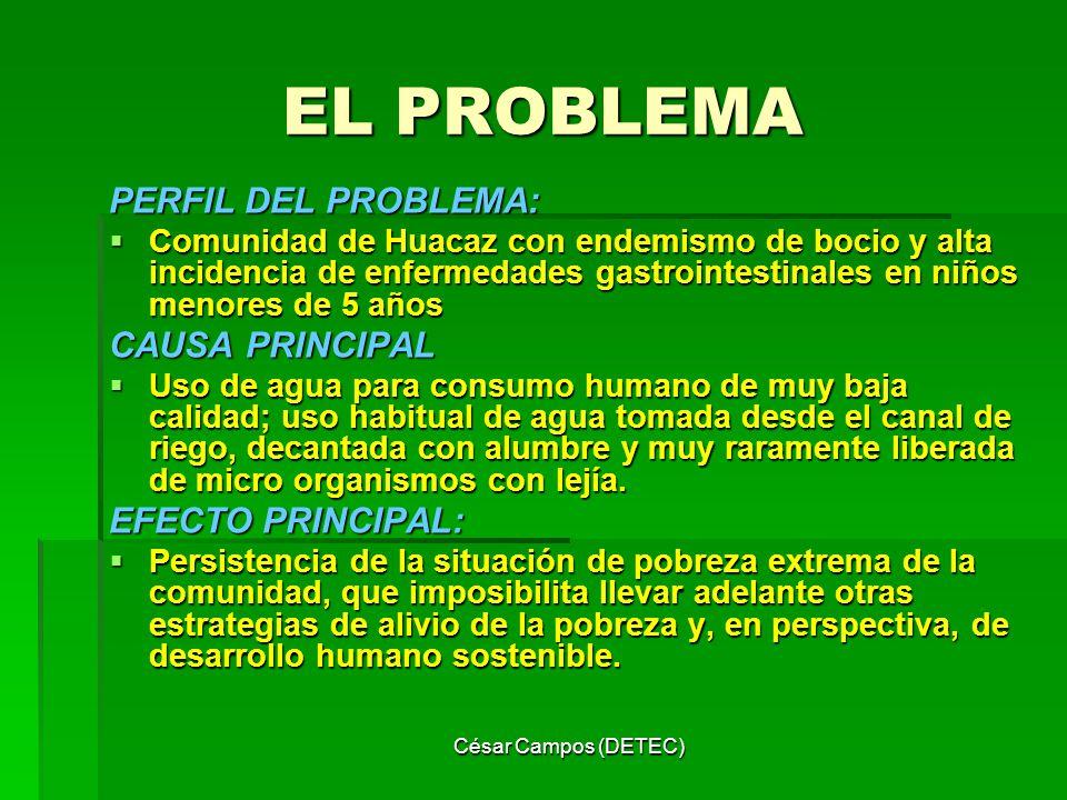 César Campos (DETEC) EL PROBLEMA PERFIL DEL PROBLEMA: Comunidad de Huacaz con endemismo de bocio y alta incidencia de enfermedades gastrointestinales