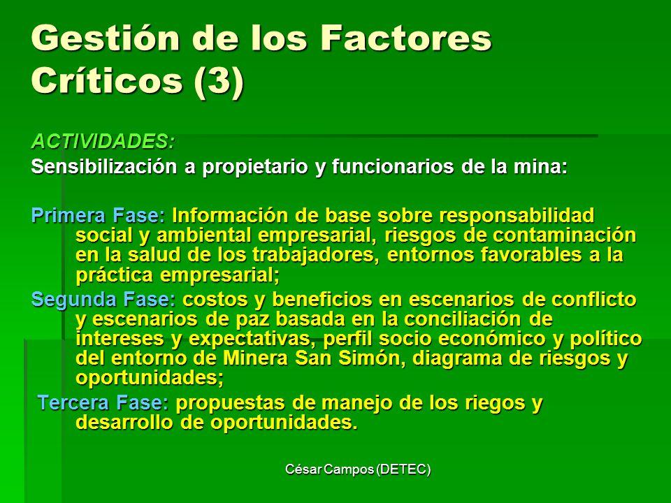 César Campos (DETEC) Gestión de los Factores Críticos (3) ACTIVIDADES: Sensibilización a propietario y funcionarios de la mina: Primera Fase: Informac