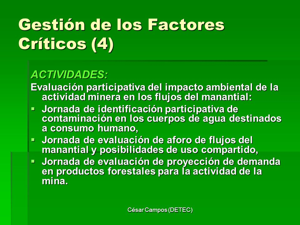 César Campos (DETEC) Gestión de los Factores Críticos (4) ACTIVIDADES: Evaluación participativa del impacto ambiental de la actividad minera en los fl
