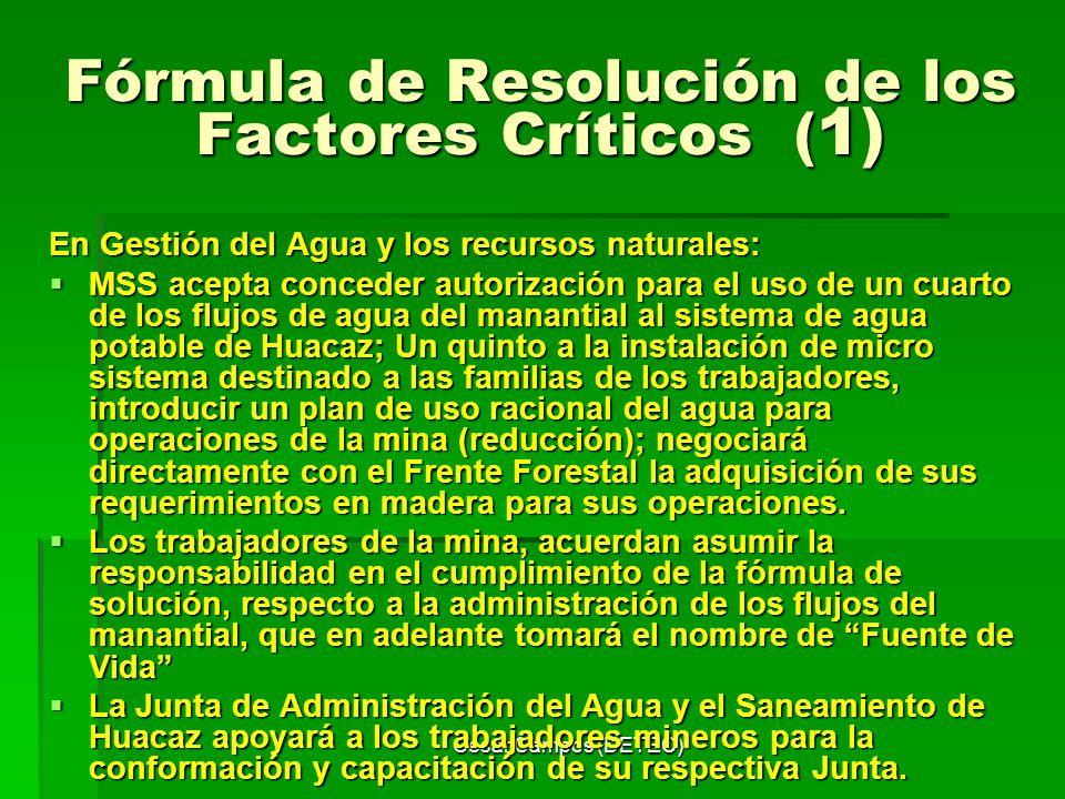César Campos (DETEC) Fórmula de Resolución de los Factores Críticos ( 1) En Gestión del Agua y los recursos naturales: MSS acepta conceder autorizació