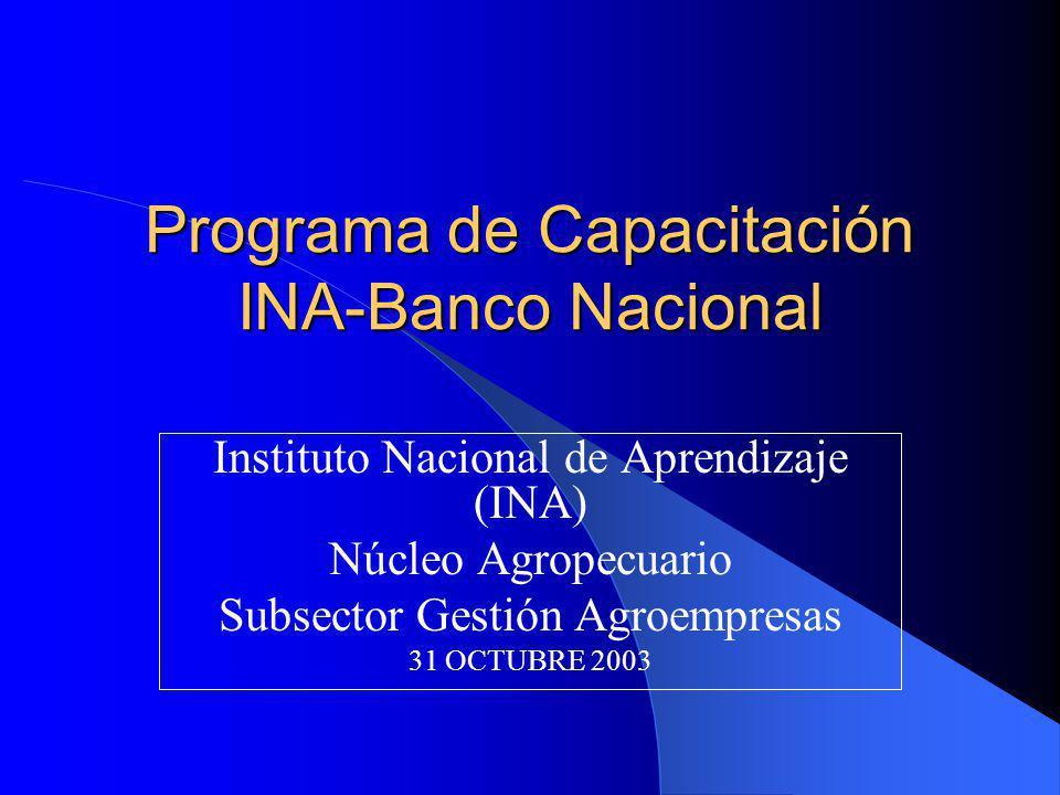 Programa de Capacitación INA-Banco Nacional Instituto Nacional de Aprendizaje (INA) Núcleo Agropecuario Subsector Gestión Agroempresas 31 OCTUBRE 2003