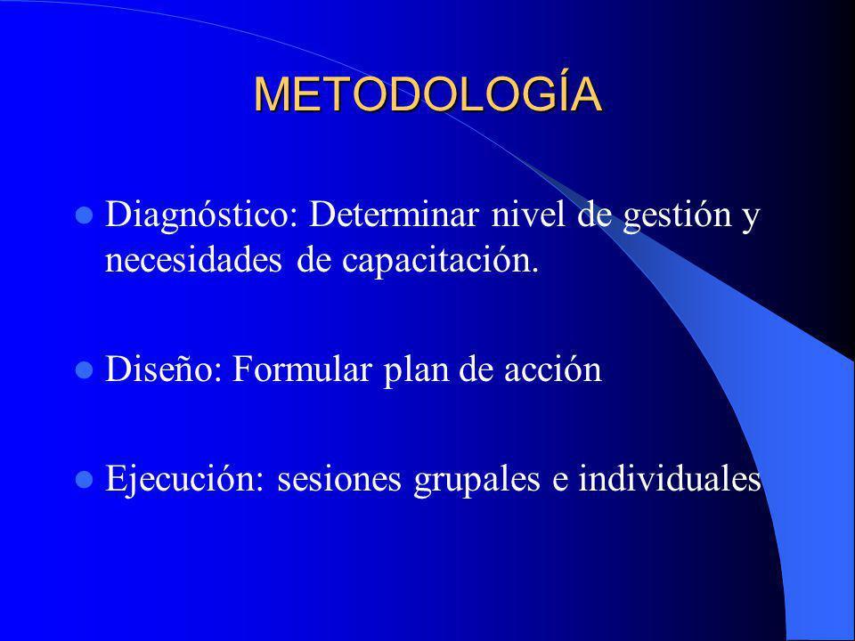 METODOLOGÍA Diagnóstico: Determinar nivel de gestión y necesidades de capacitación. Diseño: Formular plan de acción Ejecución: sesiones grupales e ind