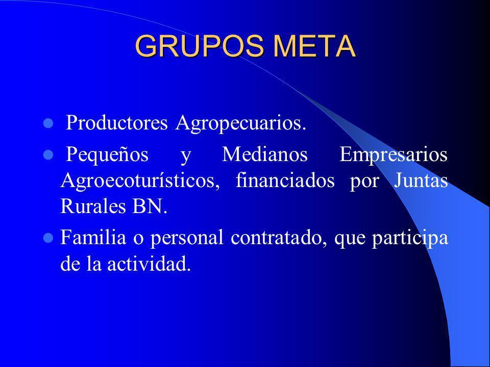 GRUPOS META Productores Agropecuarios. Pequeños y Medianos Empresarios Agroecoturísticos, financiados por Juntas Rurales BN. Familia o personal contra