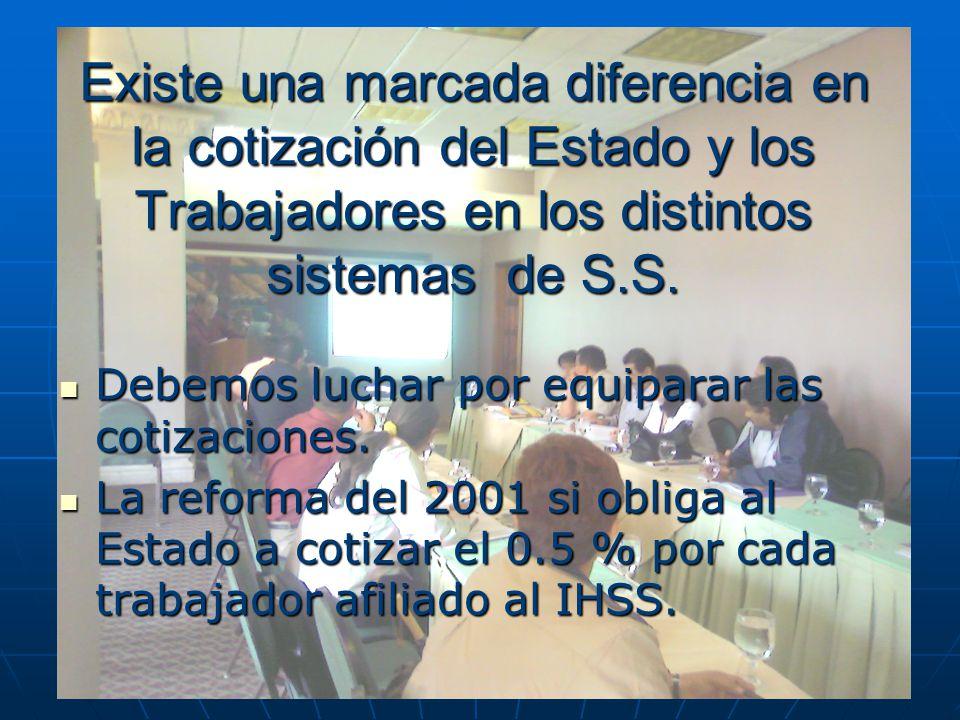 Existe una marcada diferencia en la cotización del Estado y los Trabajadores en los distintos sistemas de S.S. Debemos luchar por equiparar las cotiza