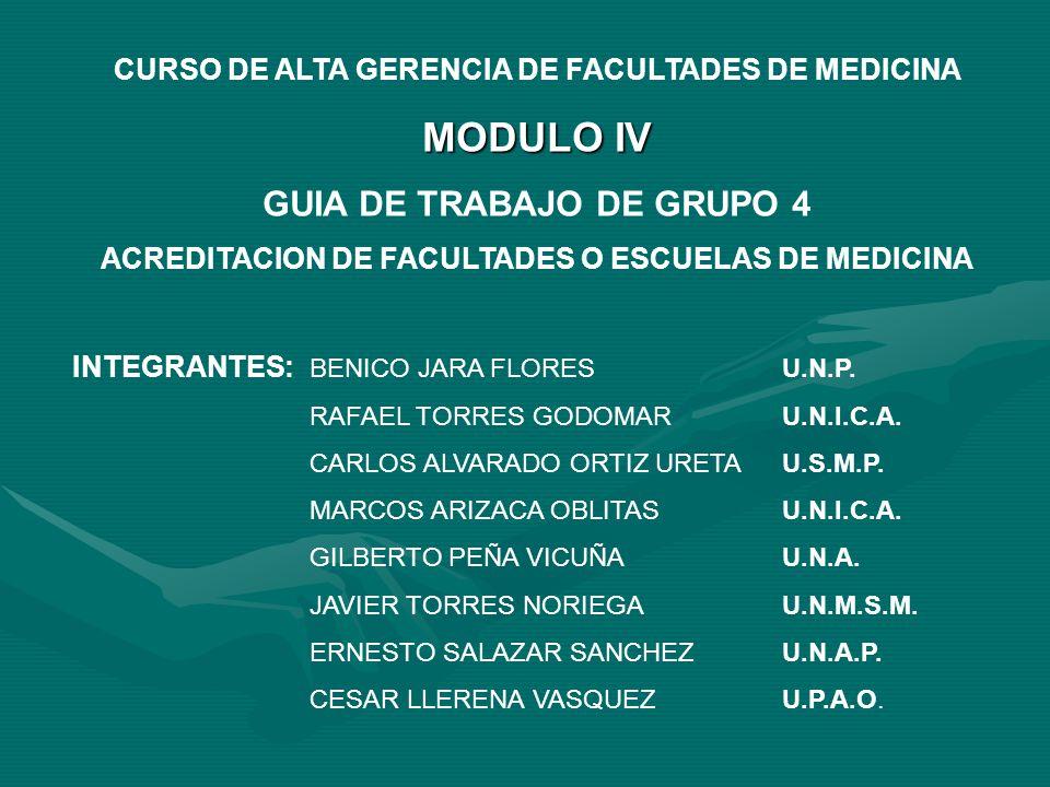 CURSO DE ALTA GERENCIA DE FACULTADES DE MEDICINA MODULO IV GUIA DE TRABAJO DE GRUPO 4 ACREDITACION DE FACULTADES O ESCUELAS DE MEDICINA INTEGRANTES: BENICO JARA FLORESU.N.P.
