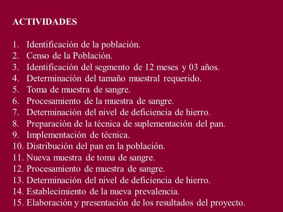ACTIVIDADES 1.Identificación de la población. 2.Censo de la Población.