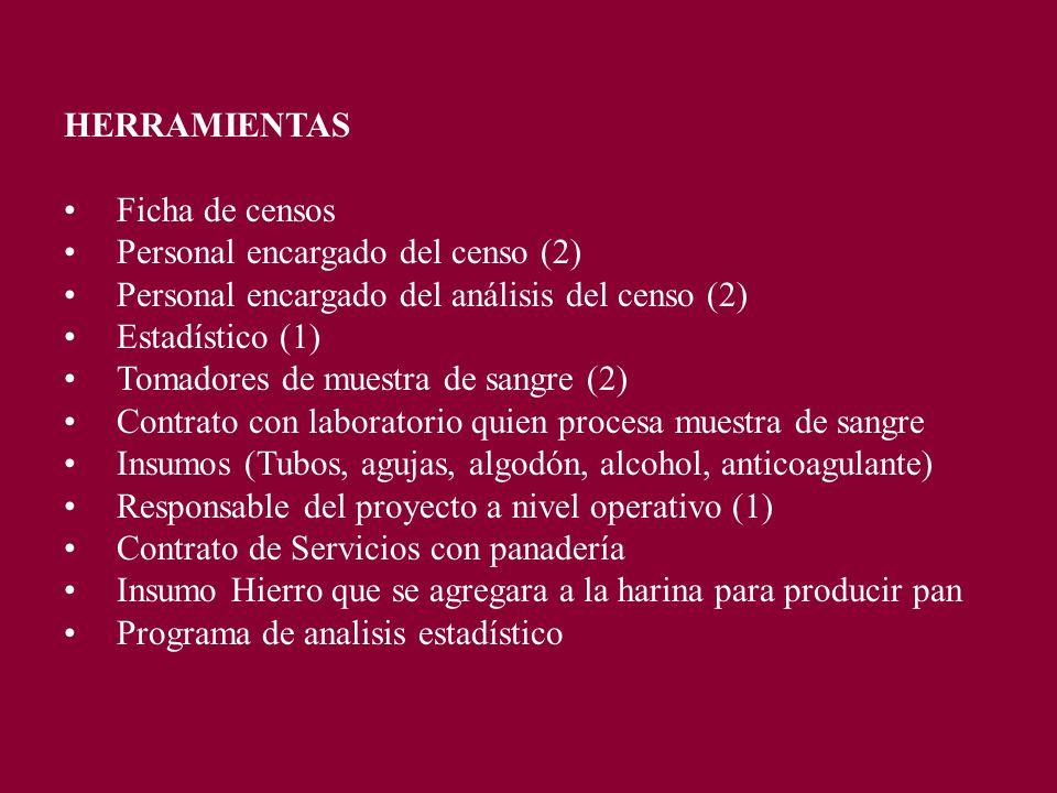 HERRAMIENTAS Ficha de censos Personal encargado del censo (2) Personal encargado del análisis del censo (2) Estadístico (1) Tomadores de muestra de sangre (2) Contrato con laboratorio quien procesa muestra de sangre Insumos (Tubos, agujas, algodón, alcohol, anticoagulante) Responsable del proyecto a nivel operativo (1) Contrato de Servicios con panadería Insumo Hierro que se agregara a la harina para producir pan Programa de analisis estadístico
