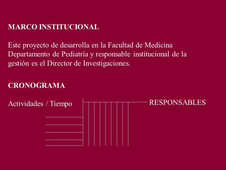 MARCO INSTITUCIONAL Este proyecto de desarrolla en la Facultad de Medicina Departamento de Pediatría y responsable institucional de la gestión es el Director de Investigaciones.