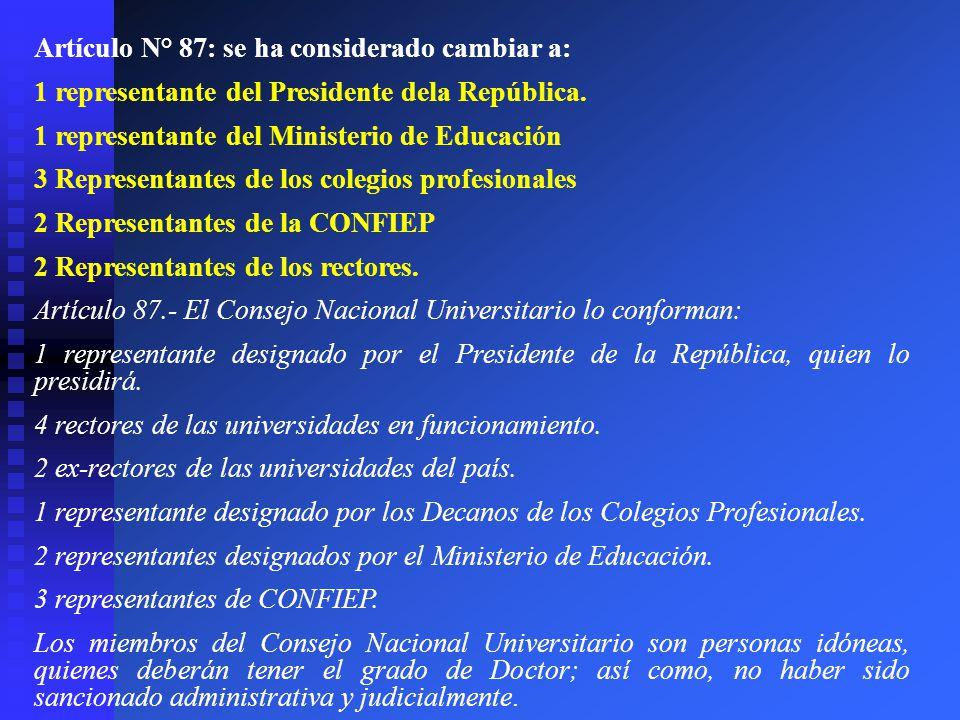 Artículo N° 87: se ha considerado cambiar a: 1 representante del Presidente dela República. 1 representante del Ministerio de Educación 3 Representant
