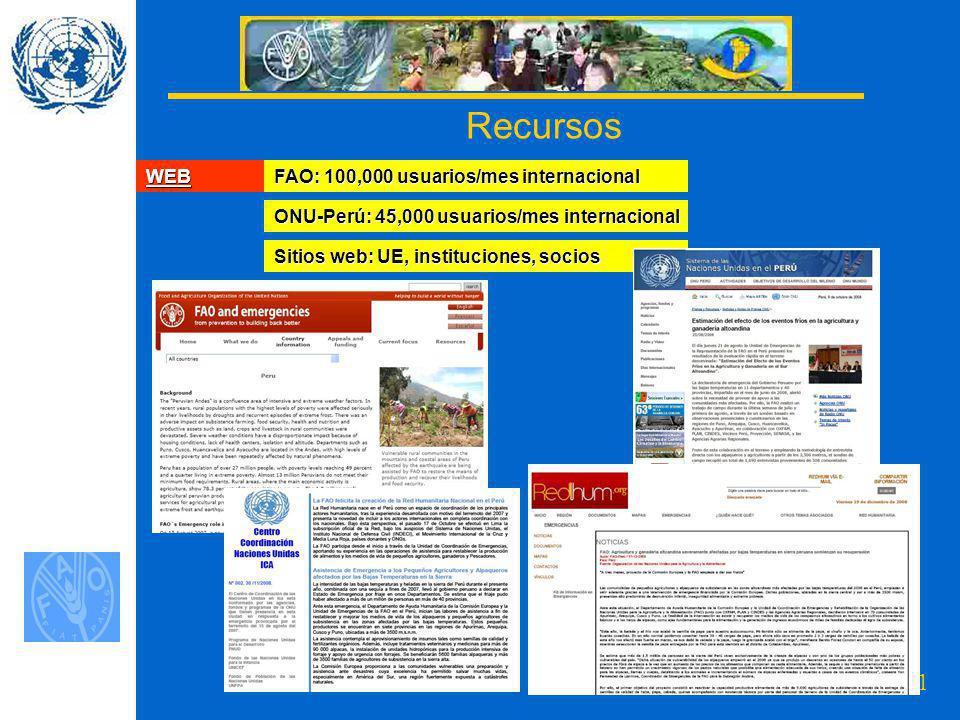11 Recursos WEB FAO: 100,000 usuarios/mes internacional ONU-Perú: 45,000 usuarios/mes internacional Sitios web: UE, instituciones, socios