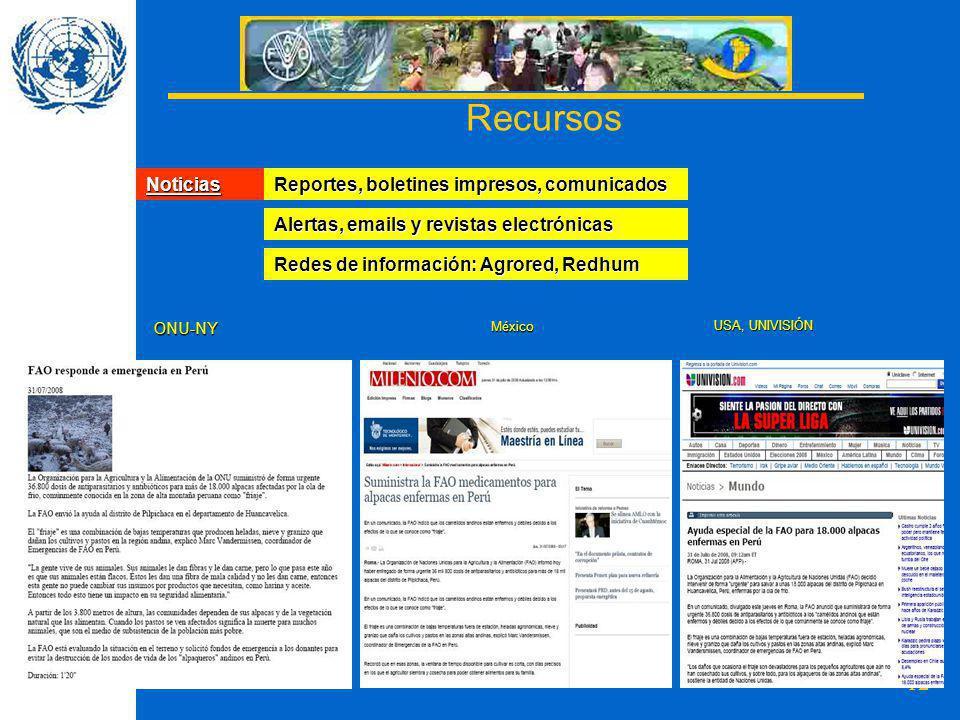 12 Noticias Reportes, boletines impresos, comunicados Alertas, emails y revistas electrónicas Redes de información: Agrored, Redhum ONU-NYMéxico USA, UNIVISIÓN Recursos