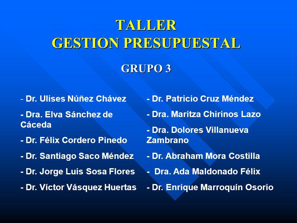 TALLER GESTION PRESUPUESTAL GRUPO 3 - Dr. Ulises Núñez Chávez - Dra. Elva Sánchez de Cáceda - Dr. Félix Cordero Pinedo - Dr. Santiago Saco Méndez - Dr