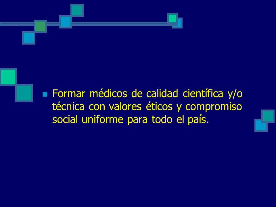 Formar médicos de calidad científica y/o técnica con valores éticos y compromiso social uniforme para todo el país.