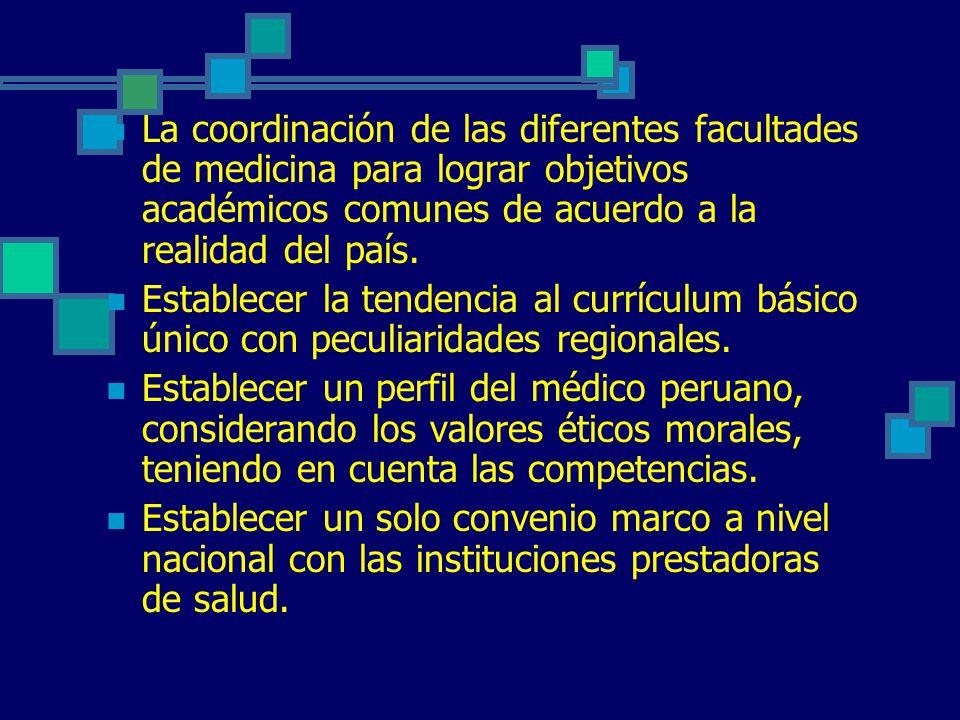 La coordinación de las diferentes facultades de medicina para lograr objetivos académicos comunes de acuerdo a la realidad del país. Establecer la ten