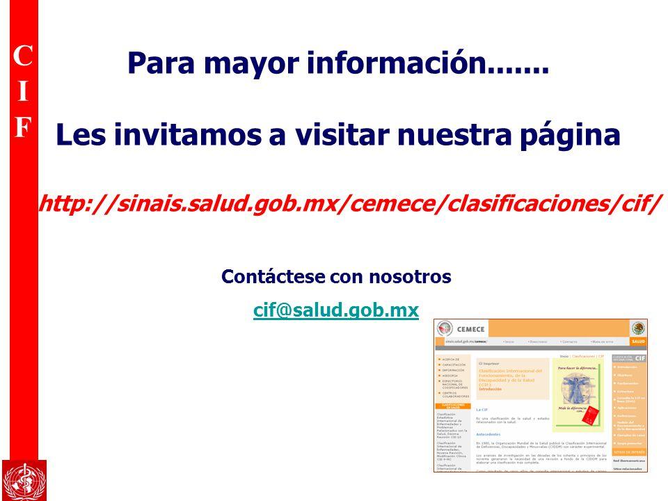 CIFCIF Para mayor información....... Les invitamos a visitar nuestra página Contáctese con nosotros cif@salud.gob.mx http://sinais.salud.gob.mx/cemece