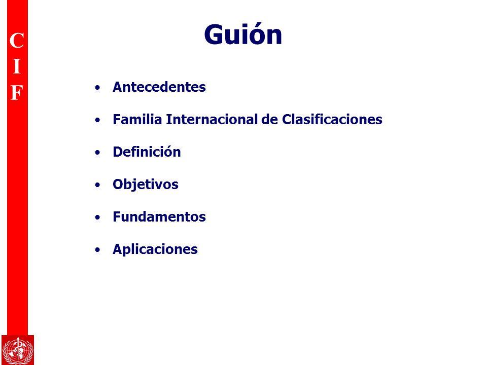 CIFCIF Guión Antecedentes Familia Internacional de Clasificaciones Definición Objetivos Fundamentos Aplicaciones