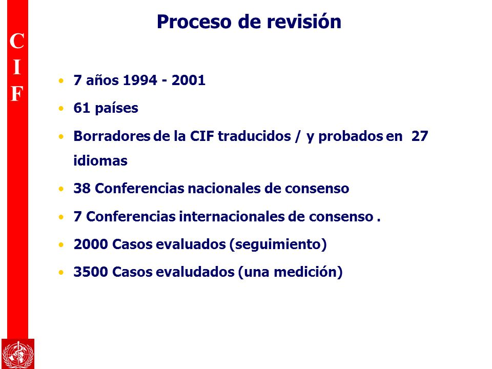CIFCIF Proceso de revisión 7 años 1994 - 2001 61 países Borradores de la CIF traducidos / y probados en 27 idiomas 38 Conferencias nacionales de conse