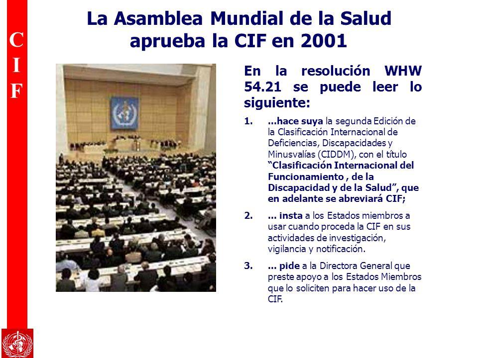 CIFCIF La Asamblea Mundial de la Salud aprueba la CIF en 2001 En la resolución WHW 54.21 se puede leer lo siguiente: 1....hace suya la segunda Edición