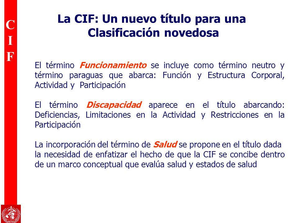 CIFCIF La CIF: Un nuevo título para una Clasificación novedosa El término Funcionamiento se incluye como término neutro y término paraguas que abarca: