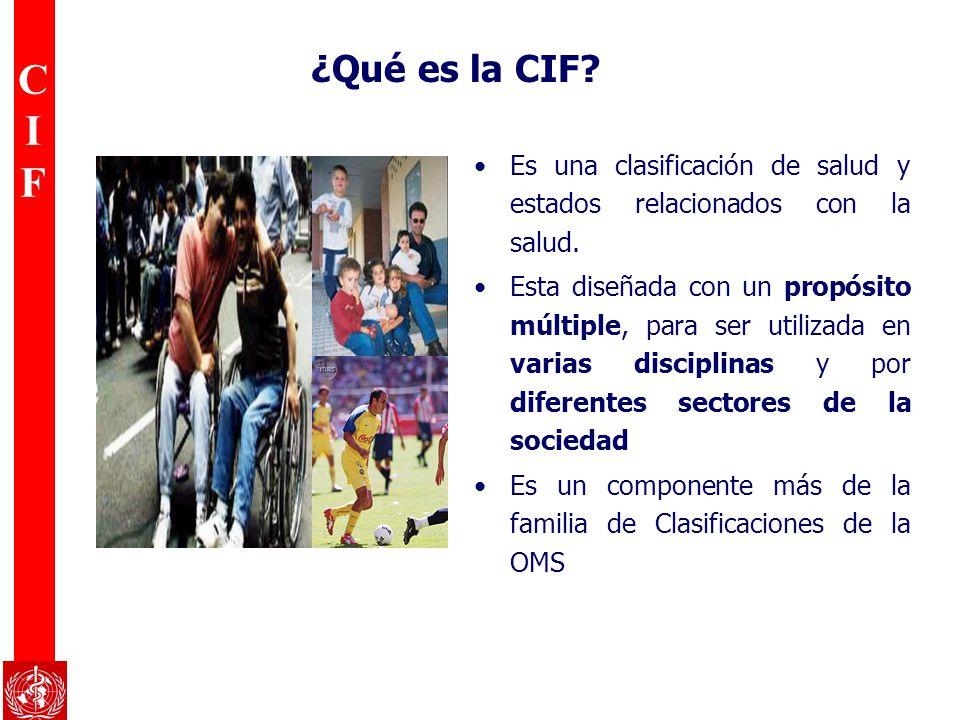 CIFCIF Es una clasificación de salud y estados relacionados con la salud. Esta diseñada con un propósito múltiple, para ser utilizada en varias discip