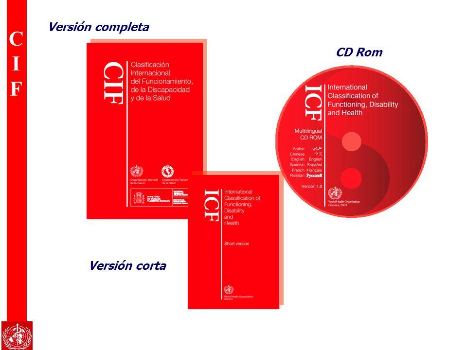 CIFCIF Familia Internacional de Clasificaciones de la OMS Intervenciones procedimientos Razones de contacto NIE Nomenclatura de las enfermedades Adaptaciones especiales Adaptaciones Atención primaria Productos Asociados Clasificaciones Principales Derivadas