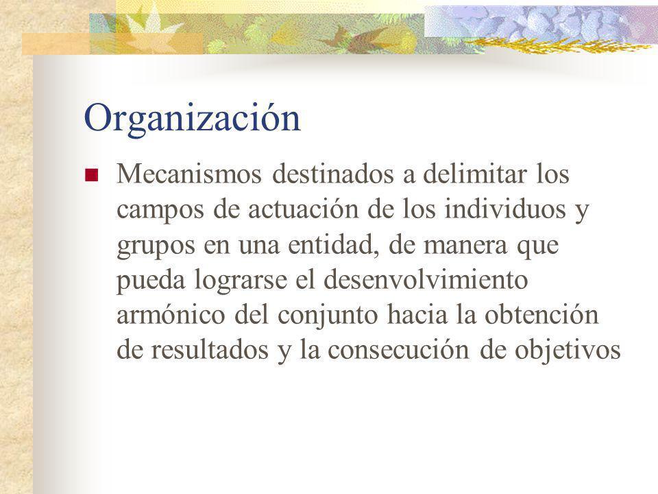 Variables organizacionales Decisiones Variables (actividades, funciones, tareas)