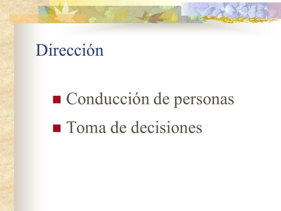 Dirección Conducción: Supervisión directa Prescripción de normas, procedimientos y métodos Fijación de objetivos Normalización de habilidades :orquestación de individuos Preparación profesional Aprendizaje de programas de trabajo Adaptación mutua