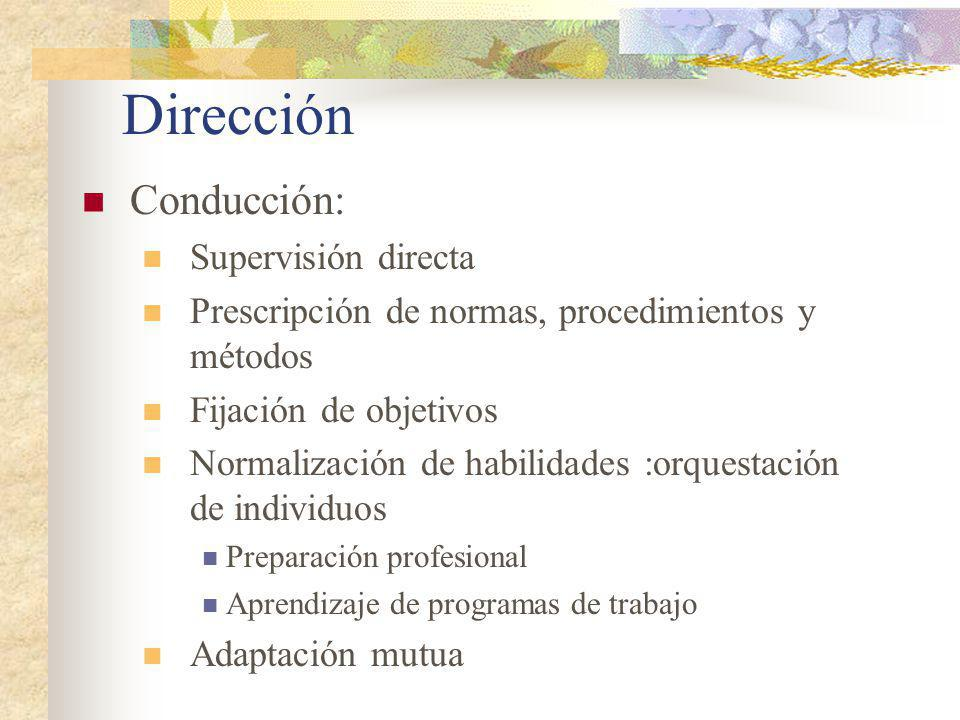 Dirección Toma de decisiones Decidir alternativas de acción En función a objetivos trazados Tomando en cuenta los contextos internos y externos de la organización
