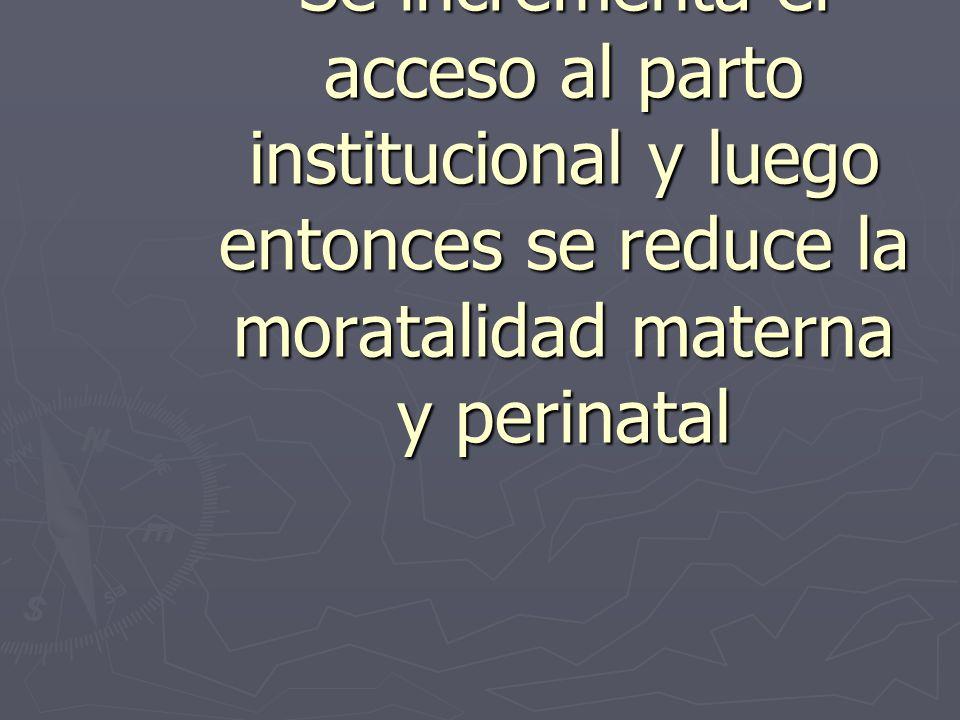TEORIA Si mejora la calidad y la capacidad resolutiva Se incrementa el acceso al parto institucional y luego entonces se reduce la moratalidad materna