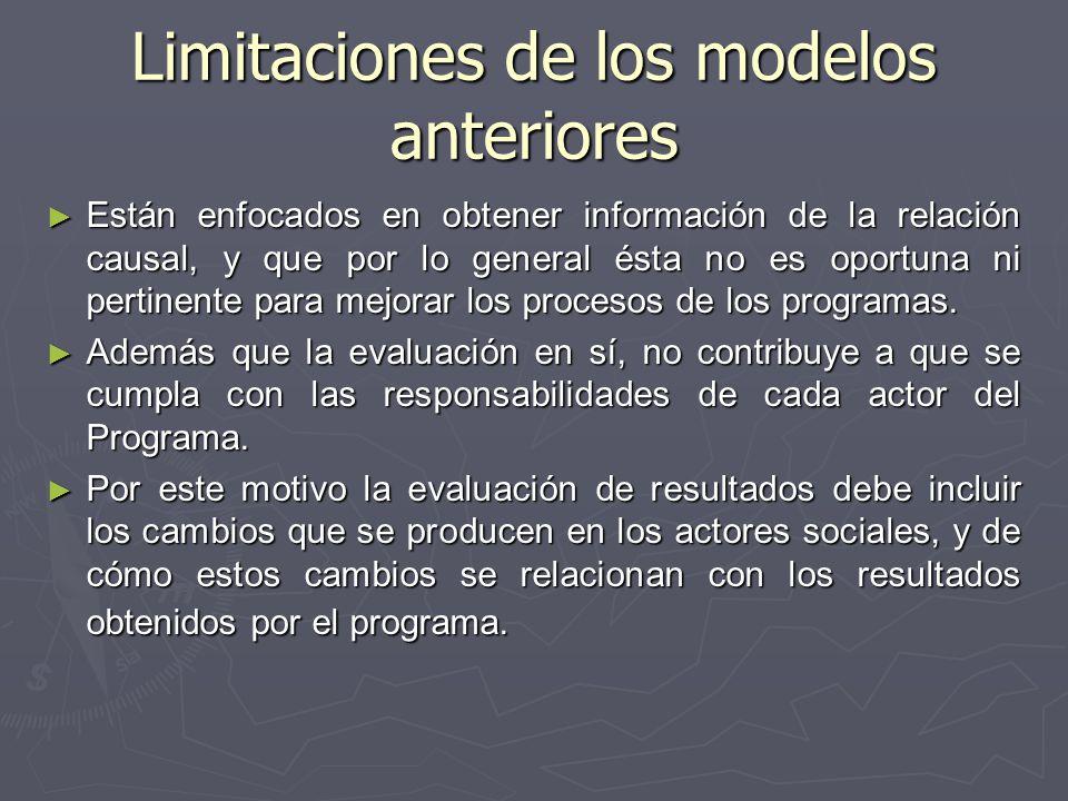Limitaciones de los modelos anteriores Están enfocados en obtener información de la relación causal, y que por lo general ésta no es oportuna ni pertinente para mejorar los procesos de los programas.