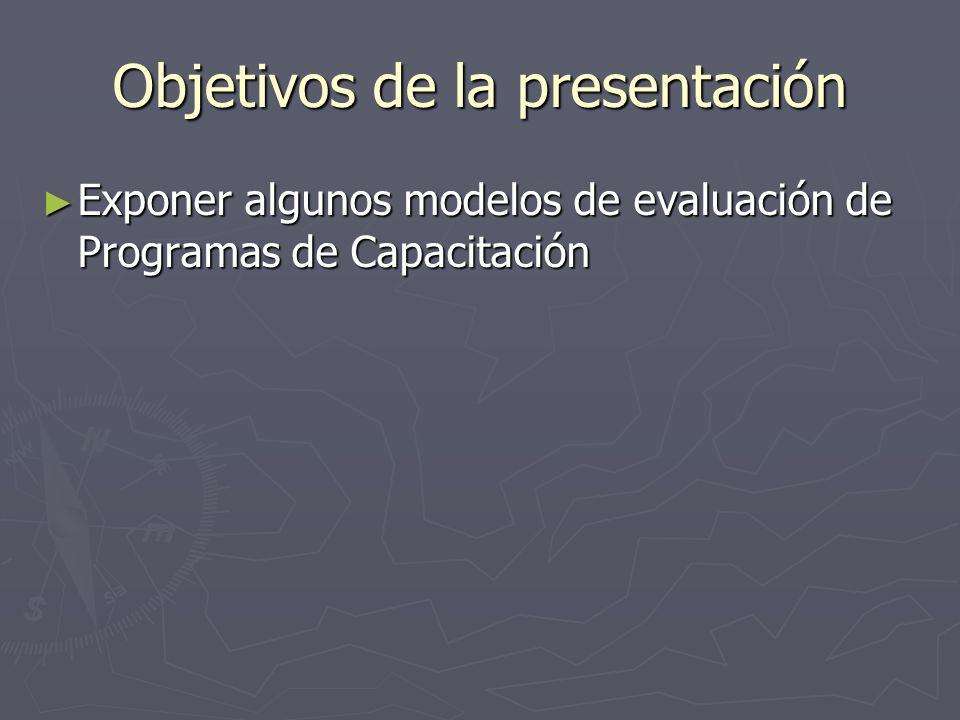 Objetivos de la presentación Exponer algunos modelos de evaluación de Programas de Capacitación Exponer algunos modelos de evaluación de Programas de