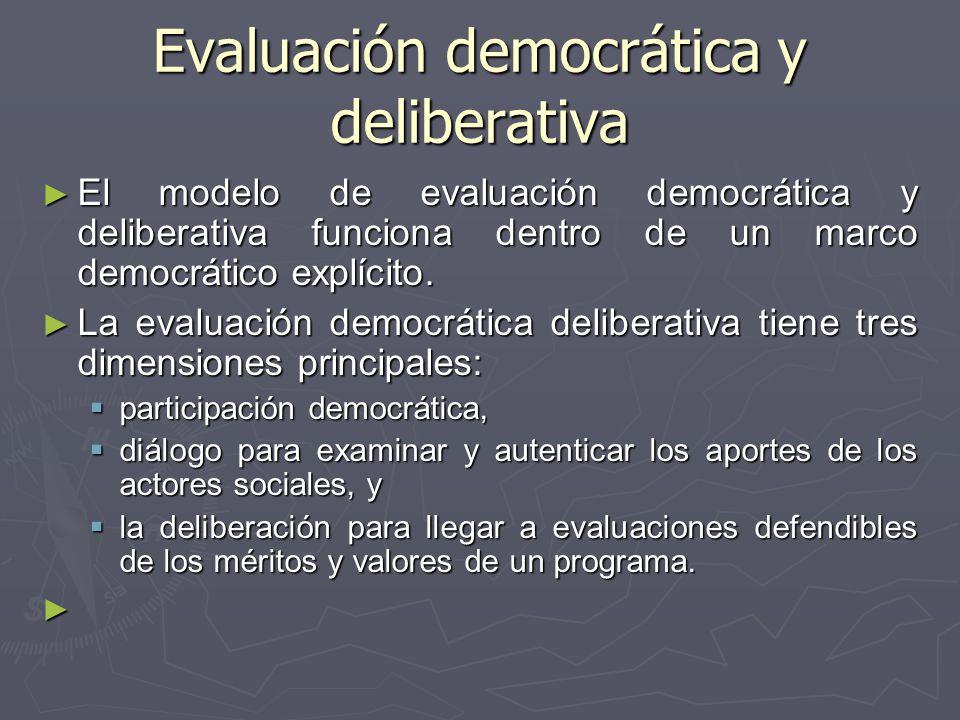 Evaluación democrática y deliberativa El modelo de evaluación democrática y deliberativa funciona dentro de un marco democrático explícito. El modelo