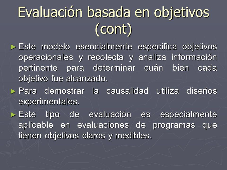 Evaluación basada en objetivos (cont) Este modelo esencialmente especifica objetivos operacionales y recolecta y analiza información pertinente para d