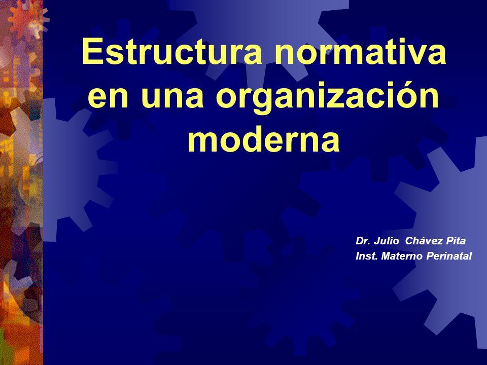 Dr. Julio Chávez Pita Inst. Materno Perinatal Estructura normativa en una organización moderna
