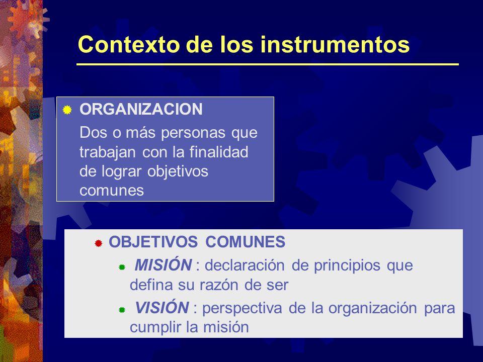 Contexto de los instrumentos ORGANIZACION Dos o más personas que trabajan con la finalidad de lograr objetivos comunes OBJETIVOS COMUNES MISIÓN : declaración de principios que defina su razón de ser VISIÓN : perspectiva de la organización para cumplir la misión
