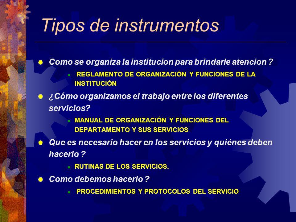 Tipos de instrumentos Como se organiza la institucion para brindarle atencion .