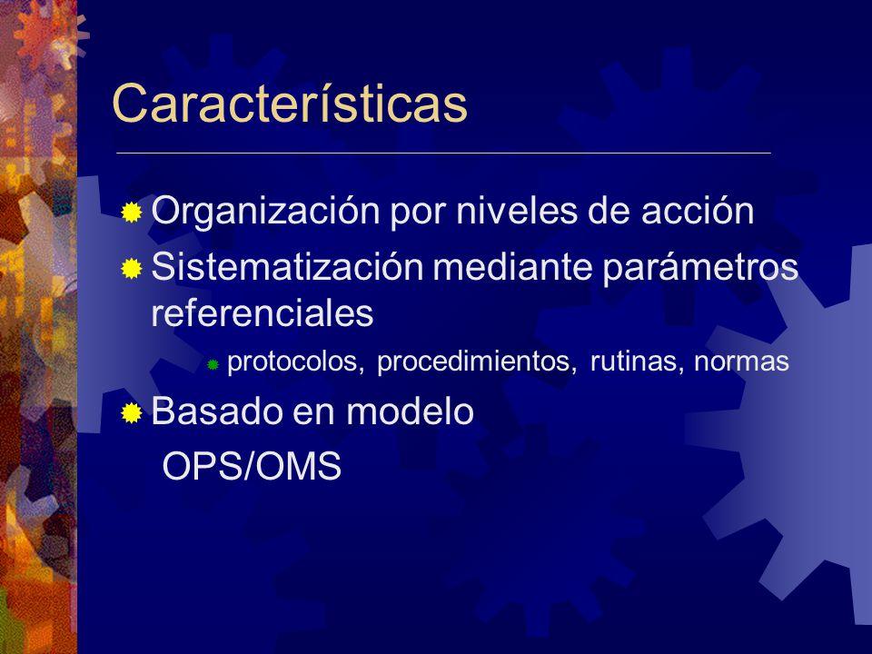 Características Organización por niveles de acción Sistematización mediante parámetros referenciales protocolos, procedimientos, rutinas, normas Basado en modelo OPS/OMS