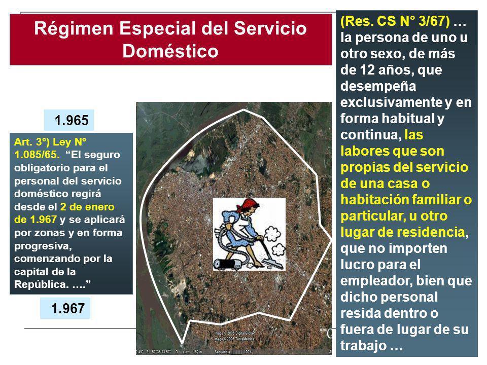 Régimen Especial del Servicio Doméstico 1.965 (Res. CS N° 3/67) … la persona de uno u otro sexo, de más de 12 años, que desempeña exclusivamente y en