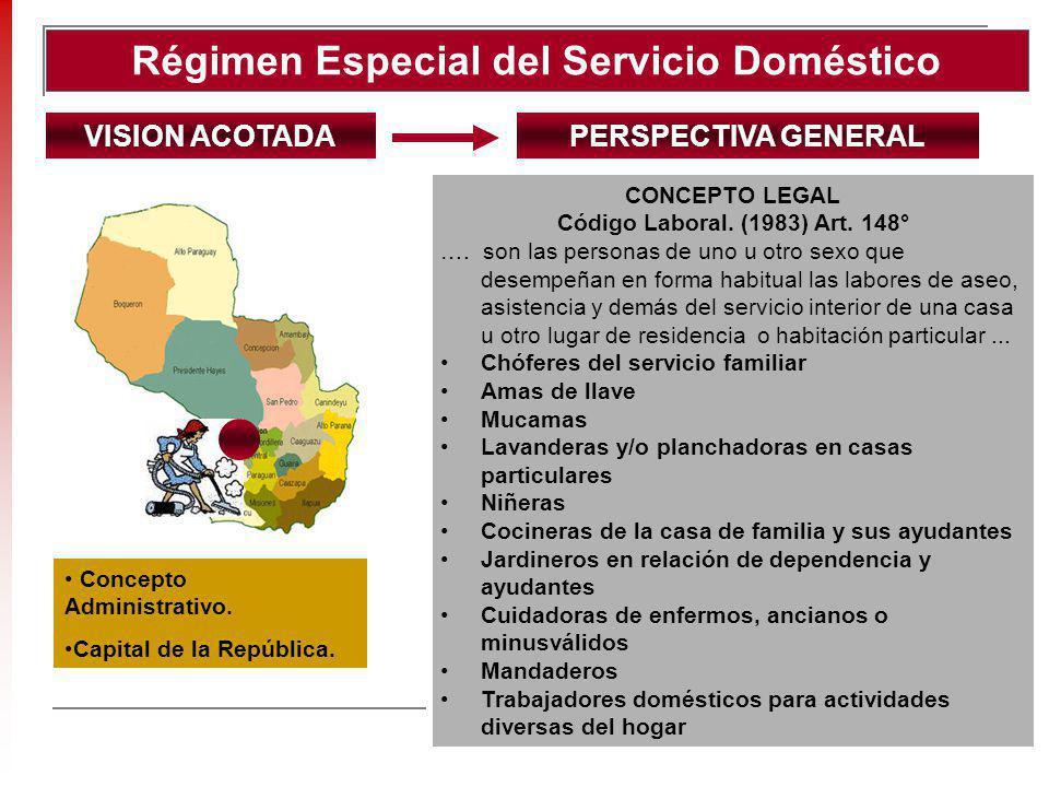Régimen Especial del Servicio Doméstico CONCEPTO LEGAL Código Laboral. (1983) Art. 148° …. son las personas de uno u otro sexo que desempeñan en forma