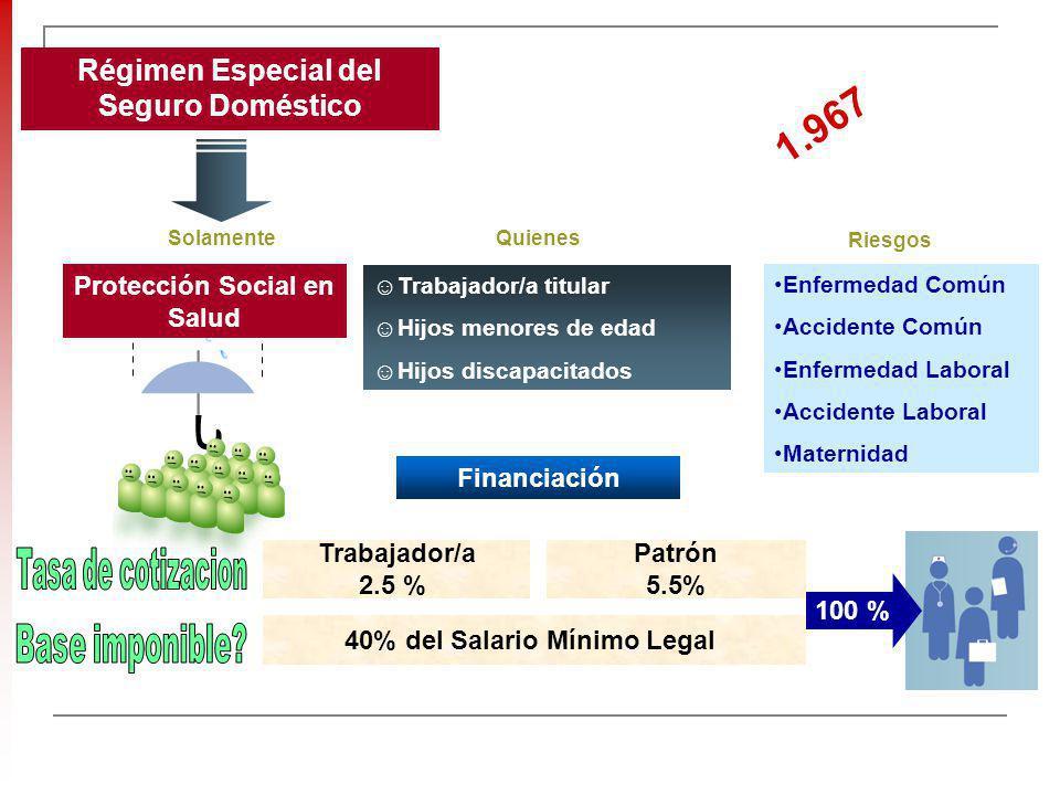 Régimen Especial del Seguro Doméstico Protección Social en Salud Enfermedad Común Accidente Común Enfermedad Laboral Accidente Laboral Maternidad + Tr
