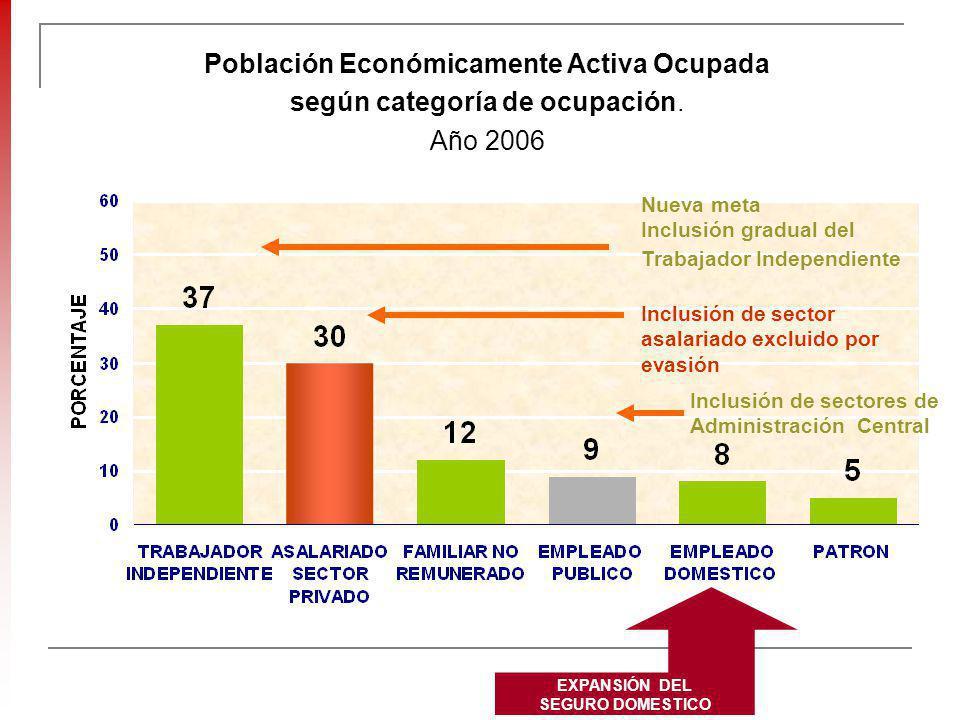 Población Económicamente Activa Ocupada según categoría de ocupación. Año 2006 Nueva meta Inclusión gradual del Trabajador Independiente Inclusión de