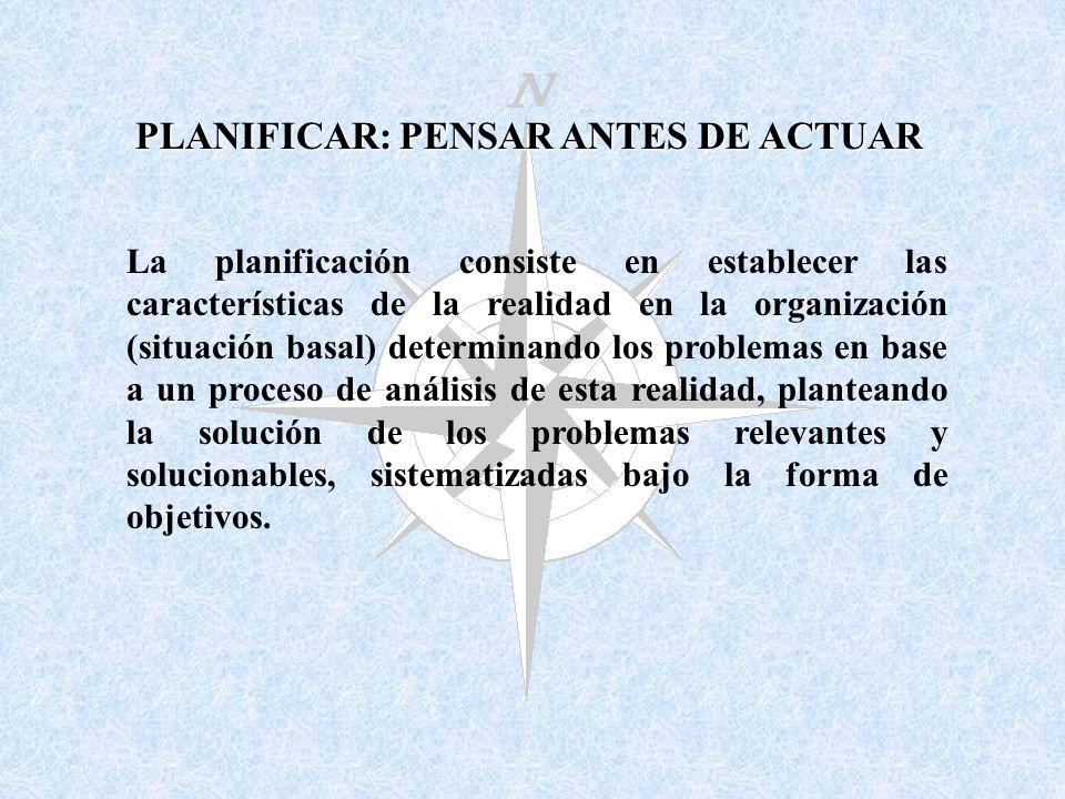 La planificación consiste en establecer las características de la realidad en la organización (situación basal) determinando los problemas en base a u
