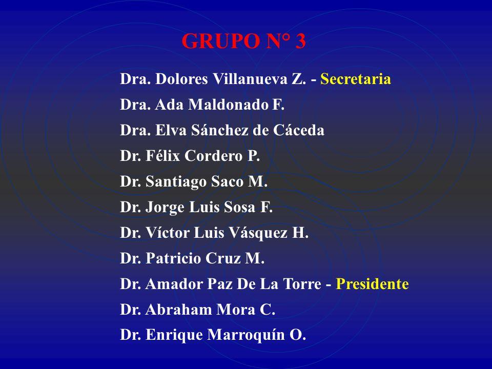 GRUPO N° 3 Dra. Dolores Villanueva Z. - Secretaria Dra. Ada Maldonado F. Dra. Elva Sánchez de Cáceda Dr. Félix Cordero P. Dr. Santiago Saco M. Dr. Jor