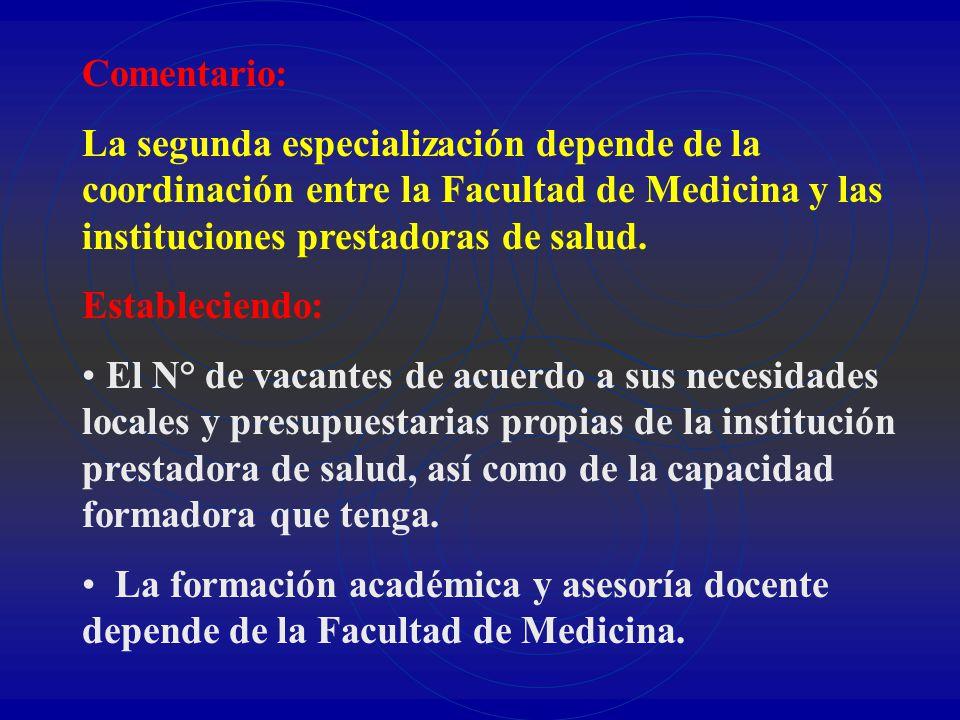 Comentario: La segunda especialización depende de la coordinación entre la Facultad de Medicina y las instituciones prestadoras de salud.